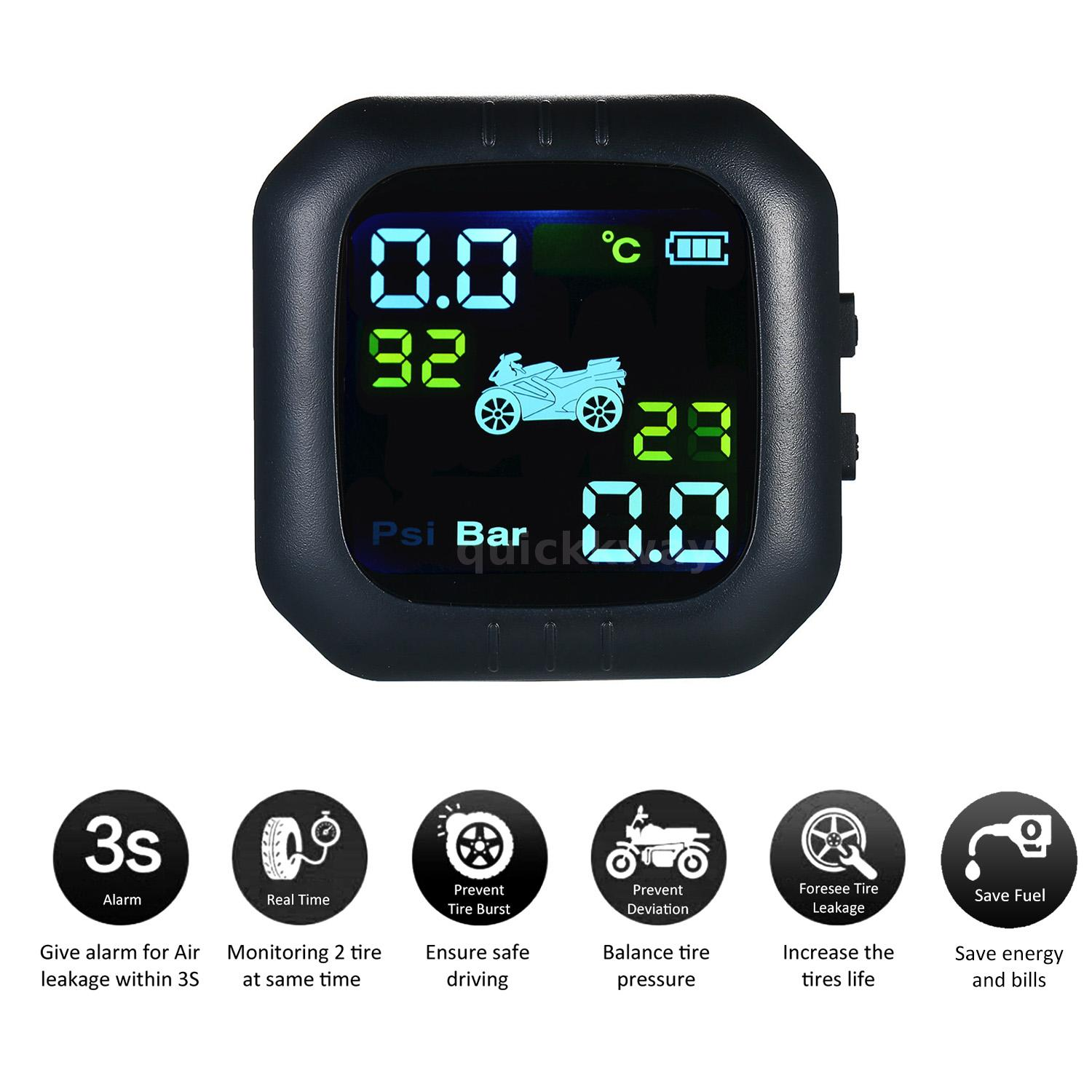 Waterproof Wireless LCD Motorcycle TPMS Tire Pressure Monitor Systems+2 Sensors