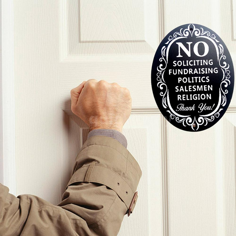 No Soliciting Wooden Sign Home Bussiness Wall Front Door Decor 13x10x0.5 cm