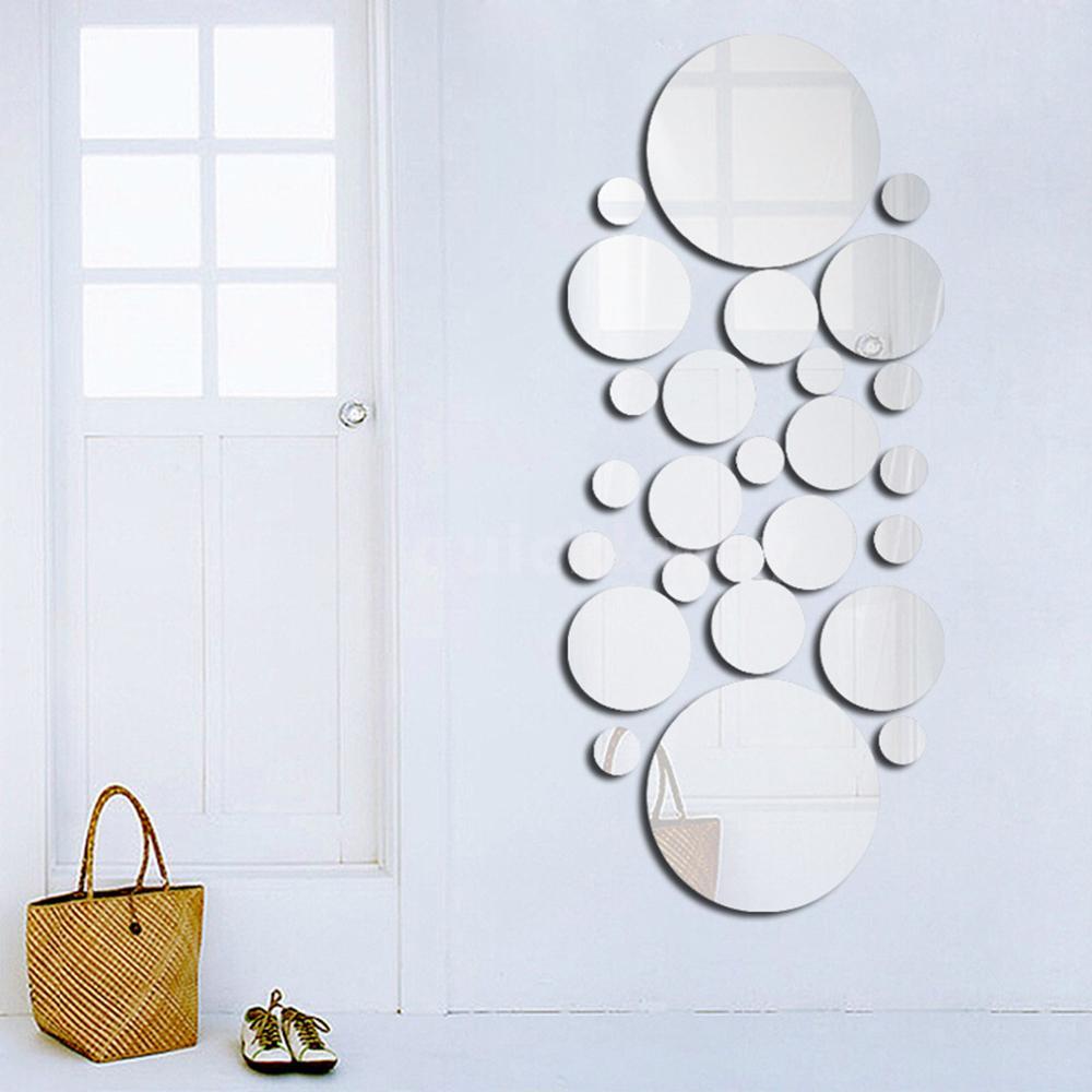 26pcs//set Wall Mirror Stickers Bedroom Kitchen Bathroom Decal Decoration M0I0